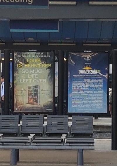 train station poster advert reading railway line